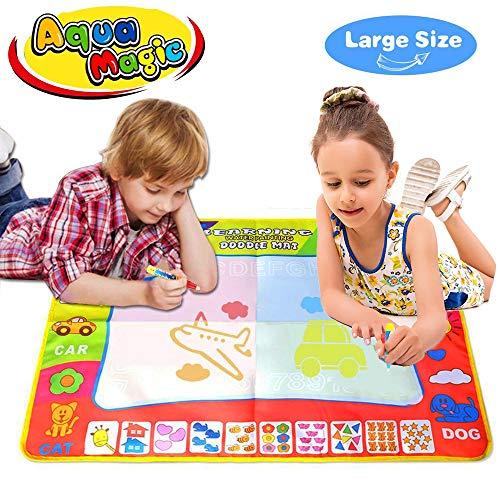 Joy-Jam Geschenke für 3-4 Jährige Mädchen Aqua Magic Doodle Matte Spielzeug ab 2 Jahre Jungen Kinder 80*60cm Magische Zeichnung Malerei Schreiben mit 2 Stiften (3-jähriges Mädchen Spielzeug)