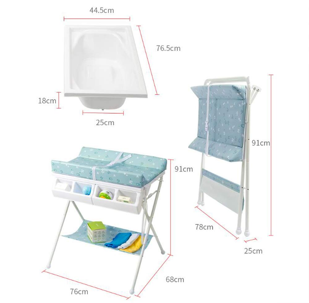 Baby Changing Table Baby Storage Bath Tub Unit Station Dresser Foldable Cross Leg Style AA-SS-Baby Changing Table 【Two in One Design】This baby changing table can be used as baby massaging table as 【Stable Construction】Non-skid feet covers and a sturdy frame keep the table stable and prevent movement. 【Waterproof Material】The surface of the top table is made of durable and wearable Oxford cloth and it can be used for a long period. 13