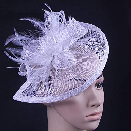 (Liuzecai Eleganter Blumenhut Hanf Kopf Blumen Stirnband Mesh Kopfschmuck Braut Feder Haarschmuck Für Frauen (Color : White, Size : Free Size))