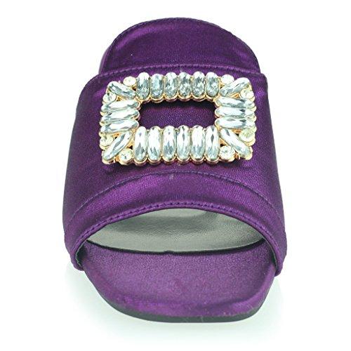 Femmes Dames Broche Détail Diamante Enfiler Talon De Bloc Soir Casual Fête Des Sandales Chaussures Taille Violet