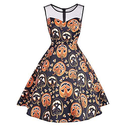 Damen Vintage O-Neck Print Ärmelloses,TWIFER Madchen Halloween Party Swing Kleid Abendkleider