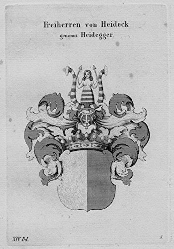 Grafik Heideck Heidegger Wappen Adel coat of arms heraldry Kupferstich
