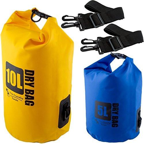 The Friendly Swede Sacs Imperméables en PVC 500D pour Activités de Plein Air et Sports Aquatiques (2 Pièces) (Bleu+Jaune / 5L + 10 L) - GARANTIE A VIE