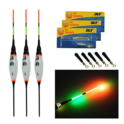 Thkfish Elektrische LED Angelposen mit Batterie Nachtlicht Fischen schwimmt leuchtposen 3 Stück #3