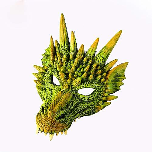 CHNA MA Halloween Karneval Party PU Schaum 3D Evil Dragon Mask für Erwachsene und Kinder Mardi Gras Party,Green,H30*W21cm