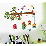 Decals Design ' Bird House on a Branch' Wall Sticker (PVC Vinyl, 70 cm x 25 cm, Multicolour)