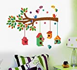 #5: Decals Design ' Bird House on a Branch' Wall Sticker (PVC Vinyl, 70 cm x 25 cm, Multicolour)