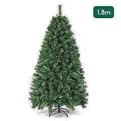 Idea Regalo - SALCAR Albero di Natale 180 cm, artificialmente con 580 Punte, ignifugo, Abete, Costruzione Rapida incl. Supporto per Albero di Natale, Natale, Verde Deco 1,8 m