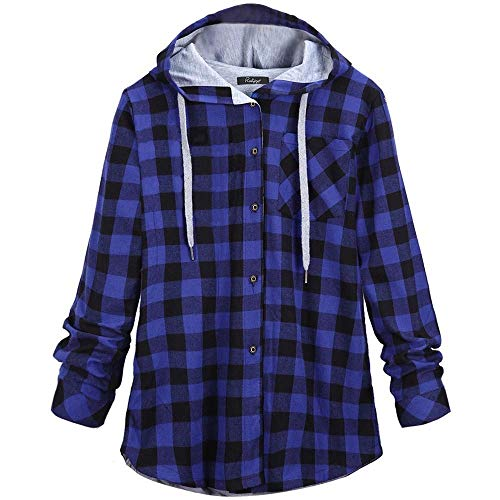 KIMODO Pullover Damen Lang Herbst Winter Plaid Sweatshirts Kapuzenpullover Hoodie Kapuzenjacke Bluse Oversize Tops Mode 2019 -