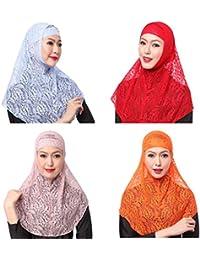 GladThink 4 X Encaje De La Mujer Musulmana 2 Piezas Hijab Bufanda