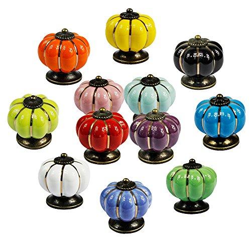 PsmGoods® Europa-Art-Keramik-Kürbis-Weinlese-Tür-Fach-Knöpfe für Dresser Kitchen Cabinet Pulls Schrank Griffe 12Pack (Bunt) Test