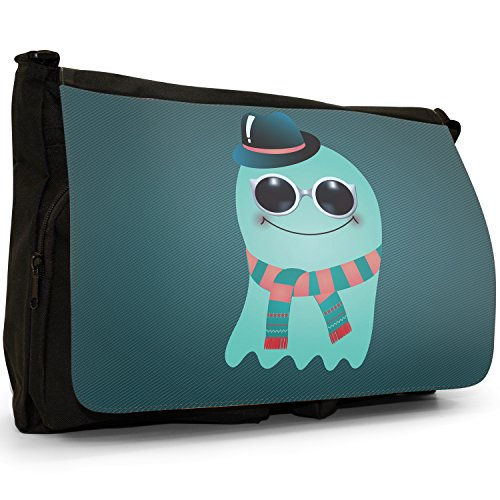Funny Freak Hipster Trendy-grande, colore: nero Monsters-Borsa di tela a tracolla, per scuola, Borsa per computer portatile Nero (Blue Blob Wearing Scarf & Hat)