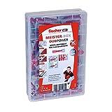 fischer Meister-Box DUOPOWER - Universaldübel-Set für eine Vielzahl von Baustoffen - Allzweckdübel für Schilder, Leuchten, Hängeschränke uvm. - 132 Stück - Art.-Nr. 535971