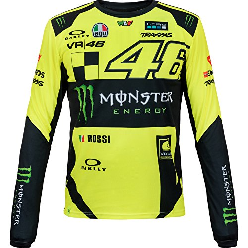 Valentino Rossi Momts316028005 Jersey Mangas Largas Vr 46 Monster Dual Line Hombre Amarillonegro Xxl 124 Cm49in Chest