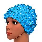 Medifier Manual del Rhinestone Floral pétalos Retro estilo gorras natacion gorras de baño para mujer amarillo Azul claro