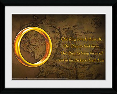 1art1 79778 Der Herr Der Ringe - Ein Ring Um Sie Zu Knechten Gerahmtes Poster Für Fans Und Sammler 40 x 30 cm