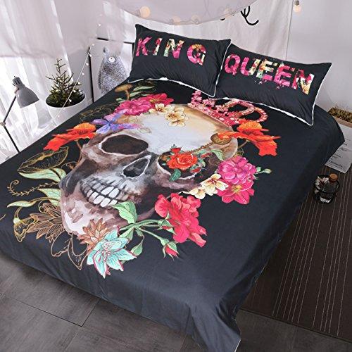 BlessLiving gekrönt Floral Skull Bettbezug Rot Pink Peony Bouquet King und Queen Bettwäsche Set für Paar Gothic Bettwäsche-Set, baumwolle, Volle Größe (Bettwäsche Queen Baumwolle Floral)