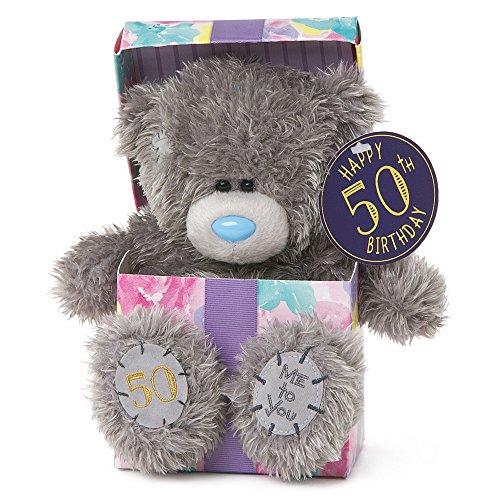 Me To You SG01W4119 7-Inch Tall Tatty Teddy Happy 50th Birthday inside a Present Sits Plush Toy