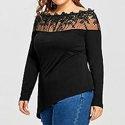 Overdose Women Plus Size Top Slash Neck Lace Patchwork Long Sleeve Shirt Blouse