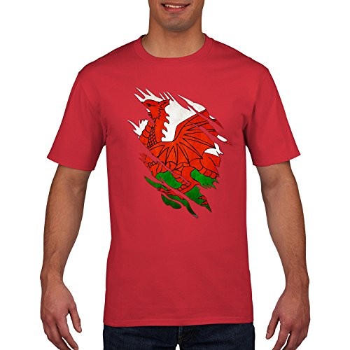 FunkyShirt Wales Rugby T Shirt - Torn Shirt Design, Cymru, 6 Nations Rugby, White and Red, Small Medium Large XL XXL