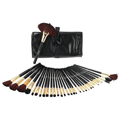 Abody 32pcs noir et or Kit de pinceaux de Maquillage professionnel Brosses en Bois cosmétiques Make Up + Housse Sac