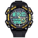 Daesar Reloj de Doble Pantalla Reloj Hombre Moda Relojes Electronicos Reloj Deporte al Aire Libre Reloj Deportivo Reloj Impermeable Reloj de Estudiante Negro Amarillo
