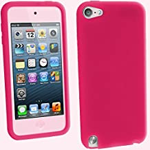 igadgitz Rosa Silicona Funda Carcasa para Apple iPod Touch 6G 6th Generación (Julio 2015) & 5G 5th Generación (2012-2015) Case Cover + Protector de pantalla