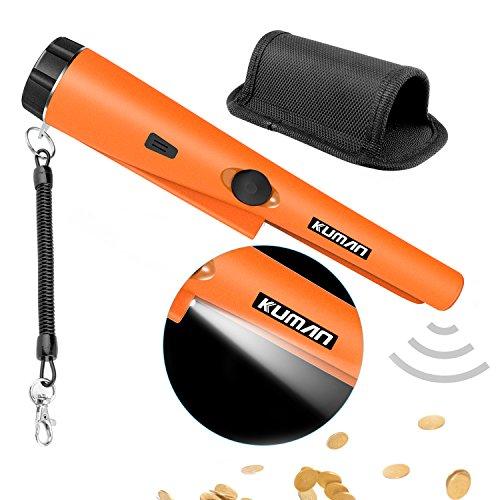 Kuman Pinpointer Detector de Metales Portátil Con Pistola, Impermeable/Detección de 360º/ Vibración Del Zumbador y Automático Sintonización KW30