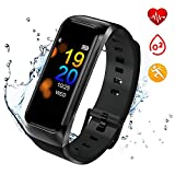 ISWIM Fitness Tracker, Orologio Fitness Pressione Sanguigna Cardiofrequenzimetro, Waterproof IP67 Smart Watch Activity Tracker Pedometro per iPhone Android iOS (Nero)