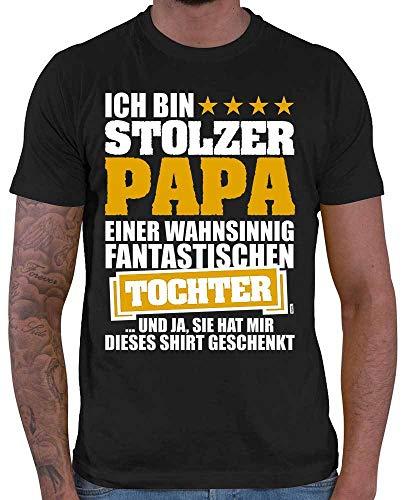 HARIZ Herren T-Shirt Ich Bin Stolzer Papa Einer Wahnsinnig Fantastischen Tochter Papa Geburtstag Plus Geschenkkarten Schwarz 5XL