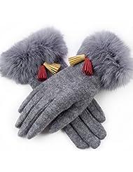 El engrosamiento de las señoras del invierno más el terciopelo gamuza cinco dedos de la pantalla táctil de ciclismo guantes calientes ( Color : Gray )