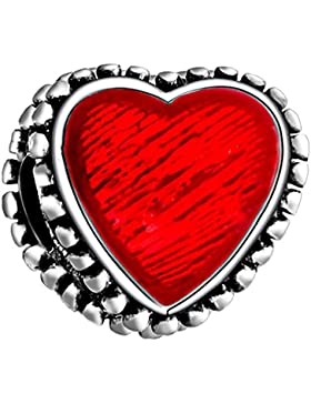 Rot Love Herz Charm 925Sterling Silber–Bead für Pandora, Biagi und Troll Armbänder