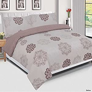 Egyptian Cotton Bedding Set 200 Thread Count Duvet Cover, Matching Fitted Bed Sheet, 2 X Pillowcases, Double and King Size [Delice]