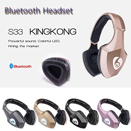 ALIKEEY Kabellose Kopfhörer Leichter Kopf S33, der drahtlosen Bluetooth mit eingebautem Mikrofon trägt Ohrhörer für iPhone, iPad, Samsung, Huawei, xiaomi und mehr - 6