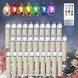 HENGDA® 30stk.LED Kerzenlichter Mit Timer und 7 verscheidene Lichtmodifikationen inkl. Fernbedienung Kabellos für Christbaumsdeko