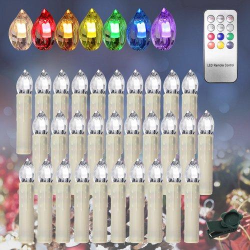 Hengda 30stk.LED Kerzenlichter Mit Timer und 7 verscheidene Lichtmodifikationen inkl. Fernbedienung Kabellos für Christbaumsdeko