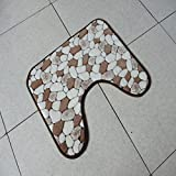 DXG&FX Anti-skid water-absorber toilette matte u-förmige wc-sitze coral fleece matte-D 38x45cm(15x18inch)