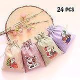 DAHI 24 Stück Adventskalender jutesäckchen zum Befüllen 10cmx14cm - Weihnachtsmann Stoffsäckchen anhängersäckchen lavendelsäckchen
