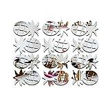 Hacoly 12er Ananas Spiegel Wandaufkleber Wall Mirror Wandsticker Möbel Küche Kühlschrank Spiegelfliesen Toilette Glasfenster Wandspiegel Selbstklebend Aufkleber Wandtattoo Esszimmer Wanddeko - Silver
