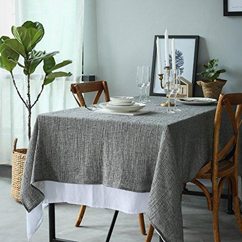Nappe Europe et les États-Unis vent lin coton naturel ridée teint double nappe grise (Size : 140 * 140cm)