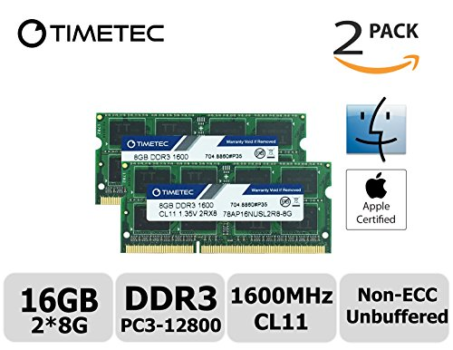 Timetec Hynix IC Apple 16GB Kit (2x8GB) DDR3 1600MHz PC3-12800 SODIMM Memory Upgrade For MacBook Pro 13-inch/15-inch Mid 2012, iMac 21.5-inch Late 2012/Early 2013,27-inch Late 2012/ 2013,Retina 5K display Late 2014/Mid 2015,Mac mini Late 2012/ Server (16GB Kit (2x8GB))