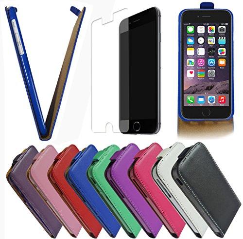 Für Apple iPhone Flip Handy Tasche Case Flip Cover Hülle Etui Klapptasche iPhone 5 - 5s Weiss Schwarz + Displayschutzfolie