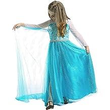 JZK Blue vestido largo traje reina de hielo vestido elsa por 1-2 años altura 80cm niña disfraz para Frozen themed cumpleaños partido traje de fiesta de Halloween de Navidad