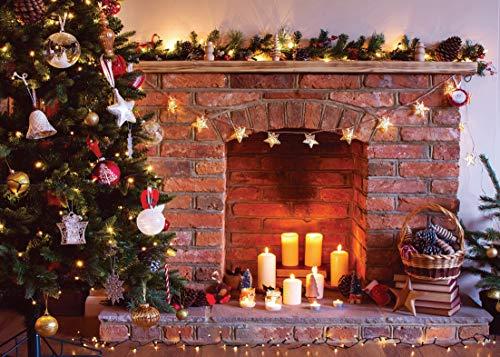 AIIKES 8x6FT/2,4x1,8M Weihnachtsbaum unter dem Motto Dekor Kiefer Ziegel Kamin Kerze Fotografie Hintergründe Fotografie Kulissen für Fotostudio 10-819