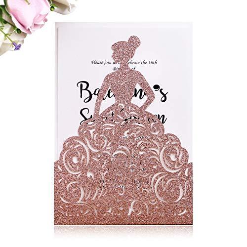 PONATIA 25 Stück Lacer Cut Hochzeitseinladungen Karten Hohle Braut Einladungen Karten für Hochzeit Brauteinladungen Verlobung Einladungen Karten Rose Gold Glitter-1 (Geburtstag 1. Princess Einladungen)