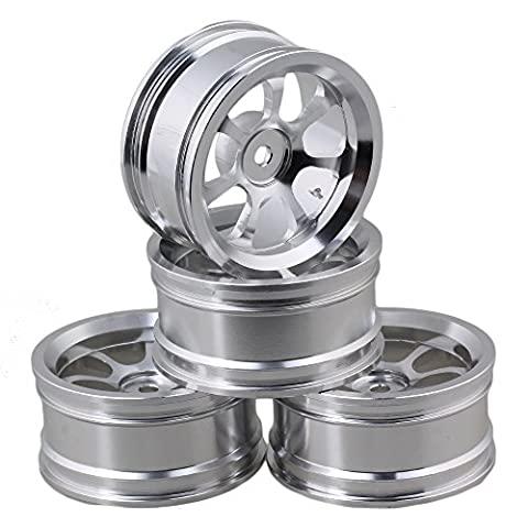 Mxfans 4PCS RC Silver Wheel Rim with 7-Spoke Aluminium Alloy DIA 52mm Fits for 1/10 On-road Car
