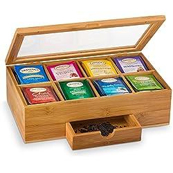 Bambus-Box-8-Teile-erweiterbare Schublade, um Ihr und losen Tee frisch in Ihrer Funktionen, klar, in sich der Deckel für schnelle und Sichtbarkeit, Tee, Stil: bambüsi
