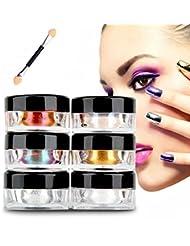 Fulltime®12 couleurs brillantes Mirror Nail Glitter Powder Dust Nail Art Paillettes Maquillage bricolage Chrome Pigment Avec éponge bâton