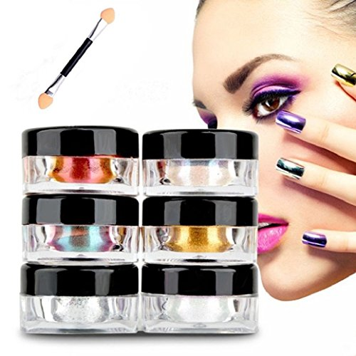 Fulltime®12 couleurs brillantes Mirror Nail Glitter Powder Dust Nail Art Paillettes Maquillage bricolage Chrome Pigment Avec éponge bâton
