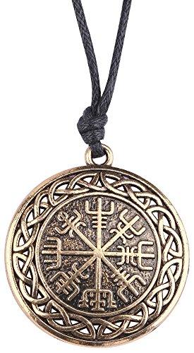 fishhook Wicca Rune 24Viking Scandinavia Irlandese Nodo Ciondolo Collana per Uomini e Donne e Lega, Colore: Antique Gold